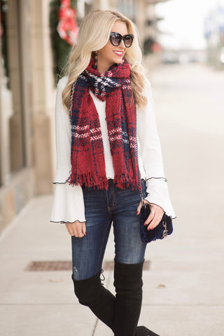 Elle Burgundy and Navy Plaid Scarf