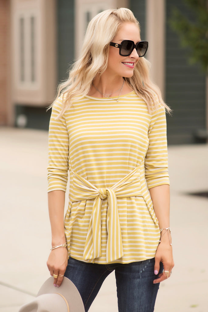 Darlene Mustard Yellow Striped Tie Front Top
