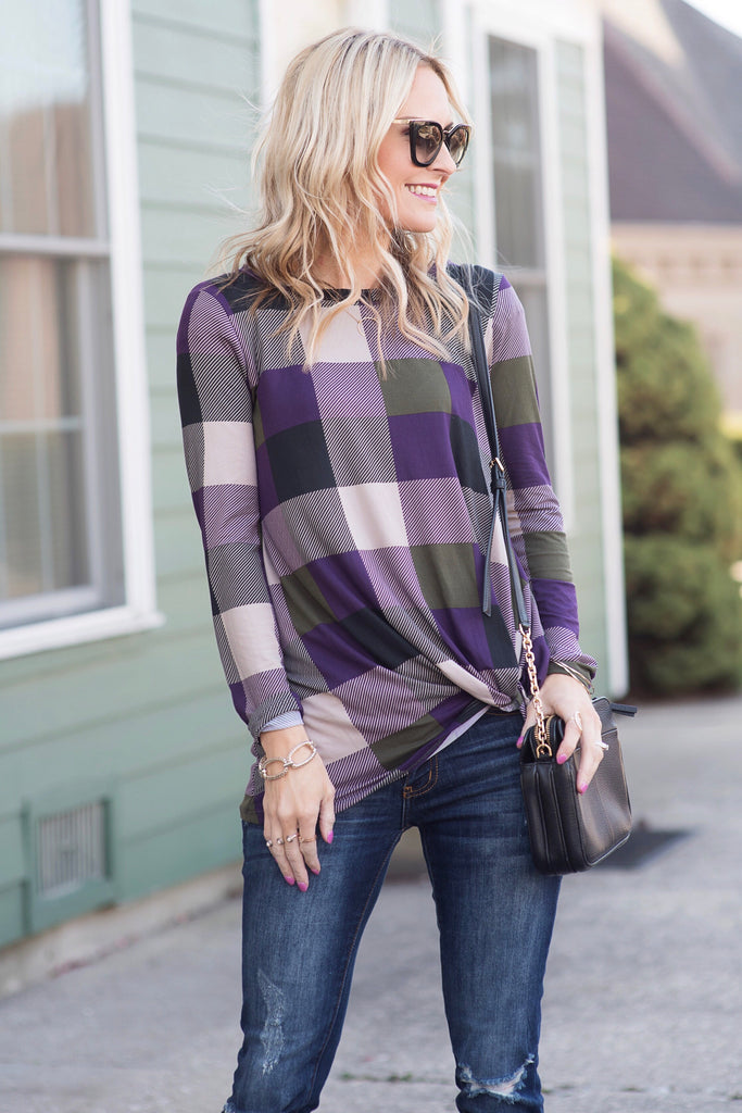 Lucy Purple Plaid Knotted Top
