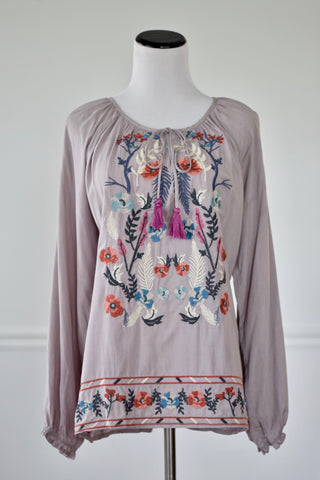 Campbell Dusty Lavender Embroidered Top