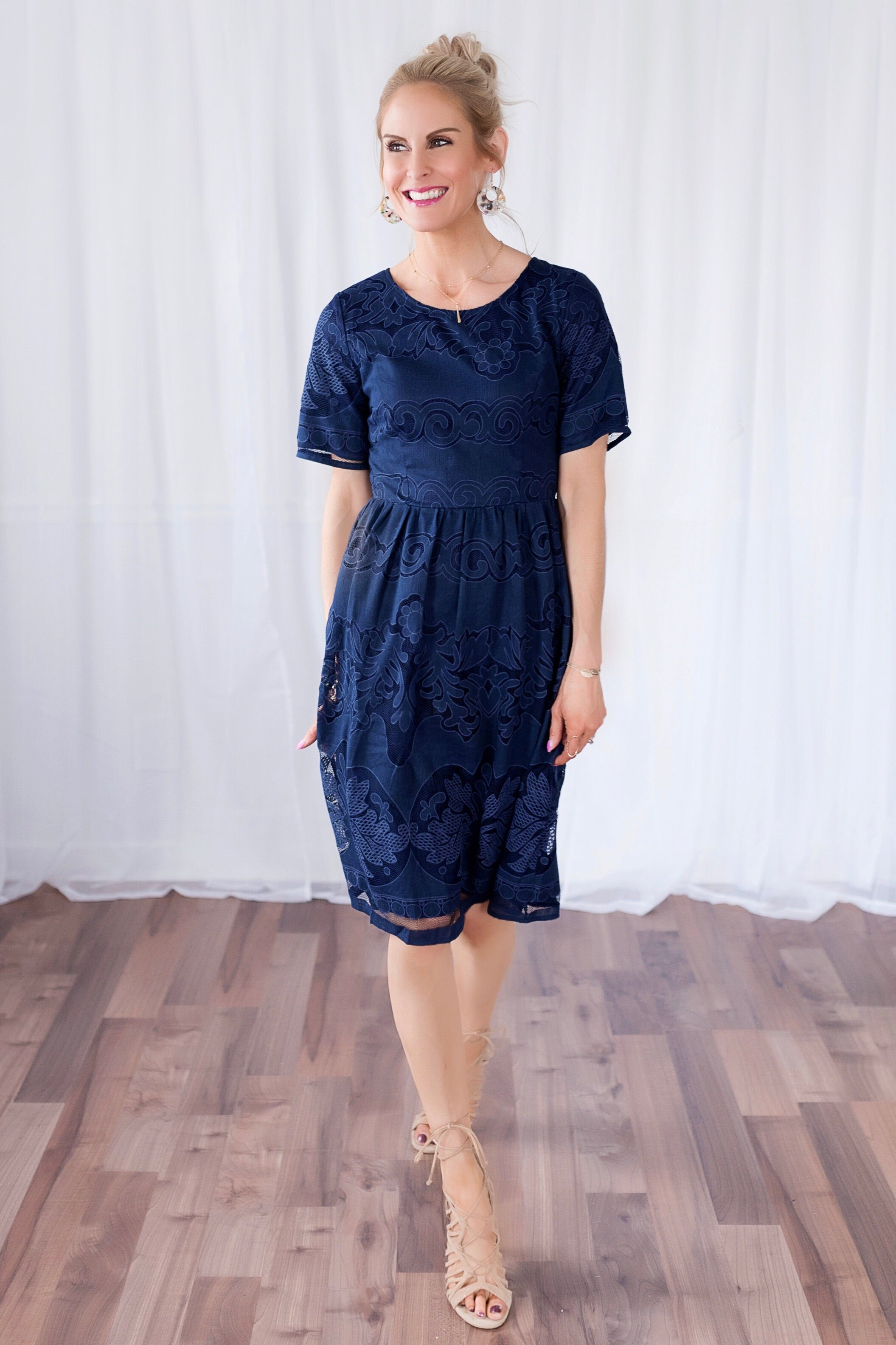 b37b128ed99 Addison Navy Lace Midi Dress