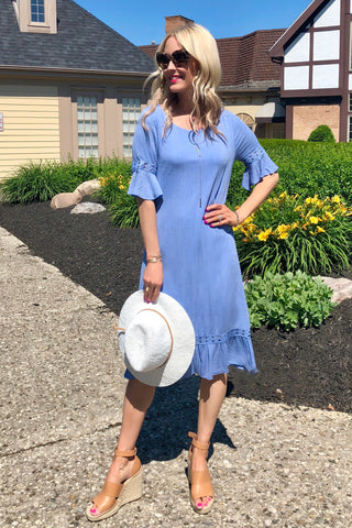 Gracie Blue Midi Dress