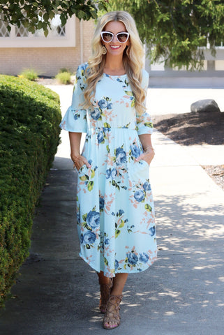 Isla Light Blue Floral Ruffle Sleeve Midi Dress