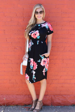 Greer Black and Coral Floral Midi Dress