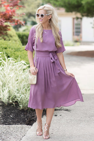 Desiree Mauve Midi Dress