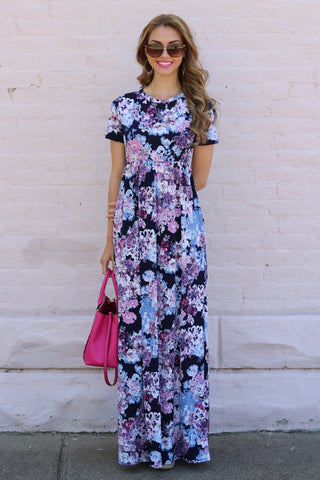 Natalie Navy Floral Maxi Dress