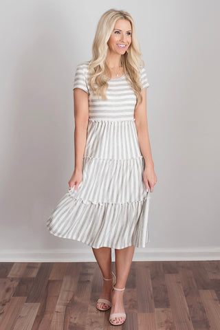 Kaylee Grey and White Striped Midi Dress