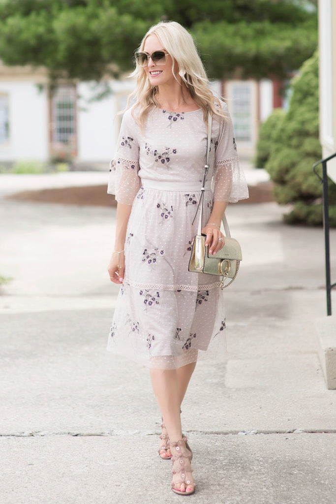 Monica Lavender Embroidered Midi Dress