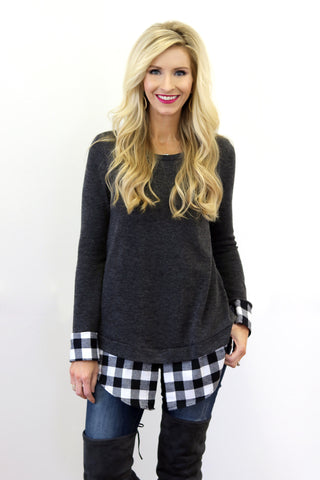Nikki Charcoal Double Layer Top
