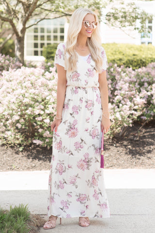 Skyler Ivory and Lavender Floral Maxi Dress