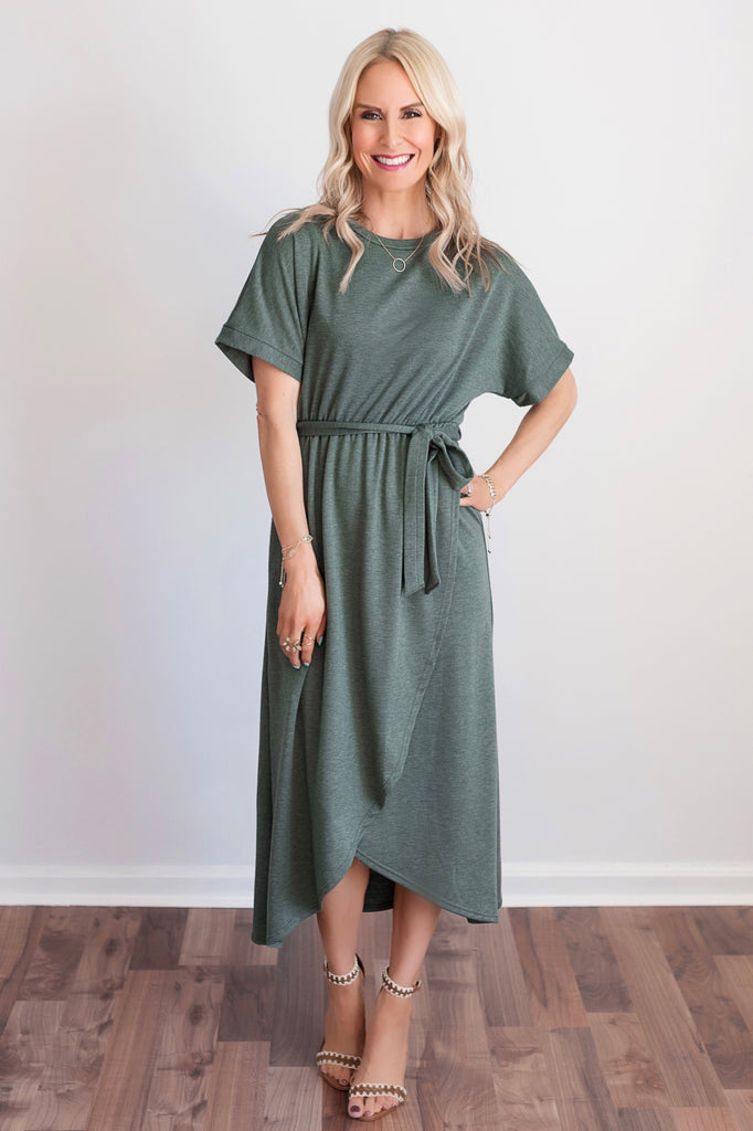 Kenzie Green Faux-Wrap Midi Dress