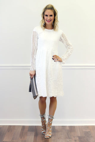 Tenley White Lace Midi Dress