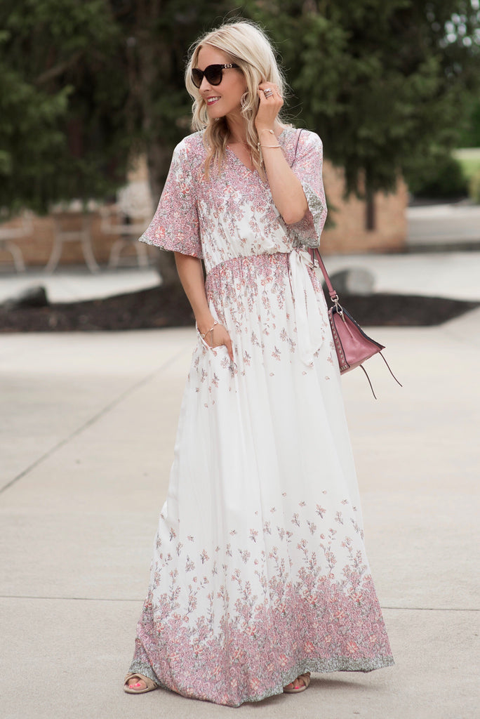 Halie Ivory Floral Faux Wrap Maxi Dress