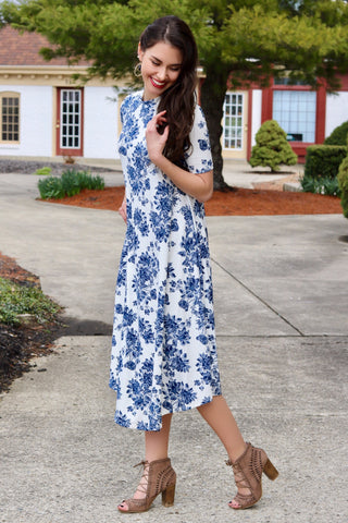 Jade Ivory and Blue Floral Midi Swing Dress