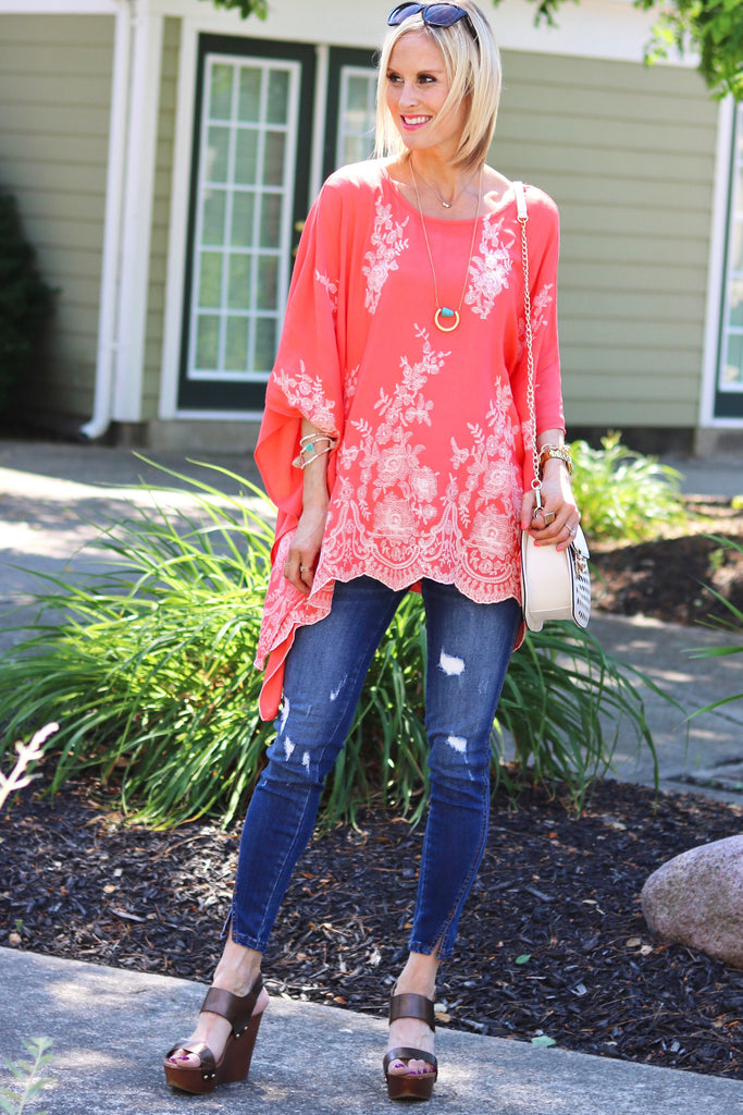Taylor Hot Coral Embroidered Poncho Top