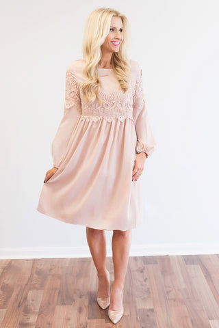 Raelynn Blush Lace Trim Midi Dress