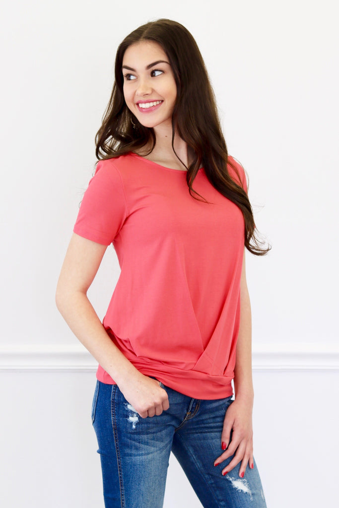 Meghan Hot Coral Short Sleeve Top