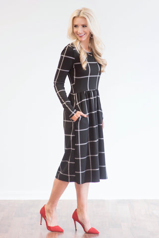 Victoria Black and Grey Windowpane Print Midi Dress