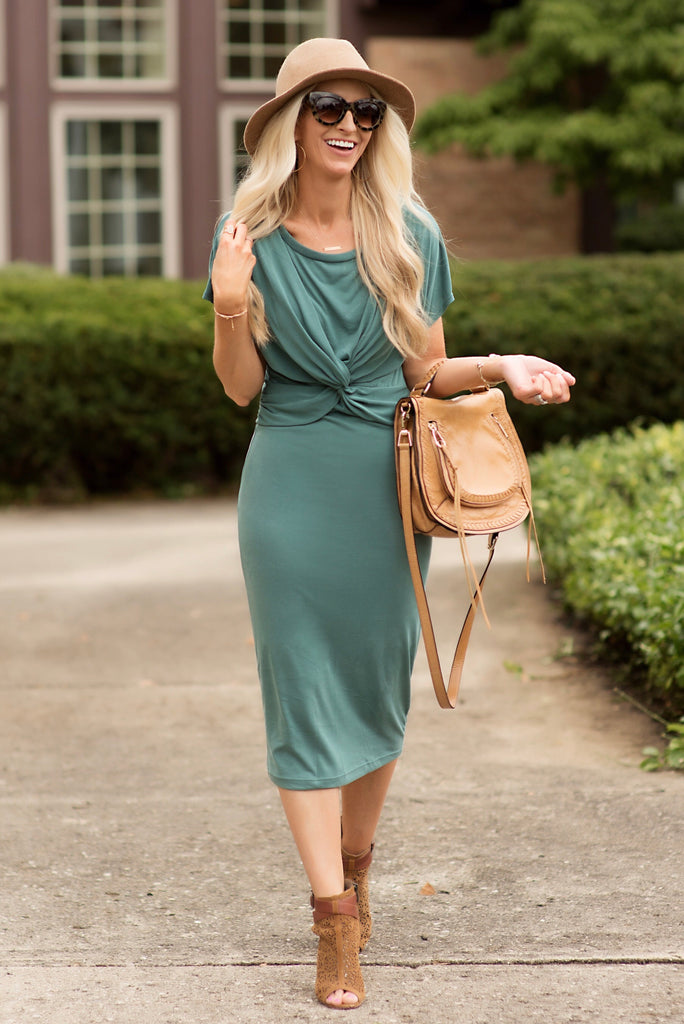 Jade Dusty Green Twist Front Midi Dress