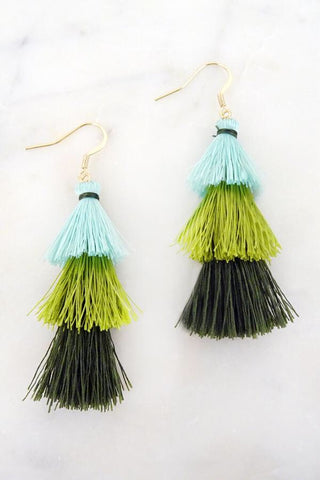 Triple Layer Green Tassel Earrings