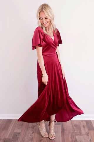 Wrenn Deep Red Velvet Wrap Maxi Dress