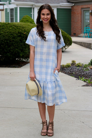 Amal Light Blue Plaid Drop Waist Midi Dress