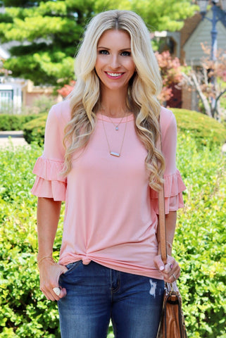 Harper Pink Double Ruffle Sleeve Top