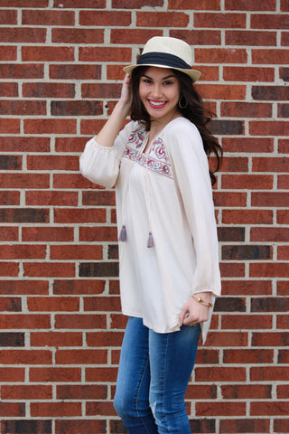 Macy Ivory Embroidered Top