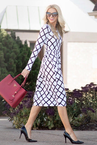 Giana Black and White Grid Print Midi Dress