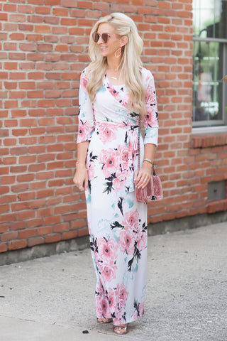 Maggie White and Pink Floral Maxi Dress