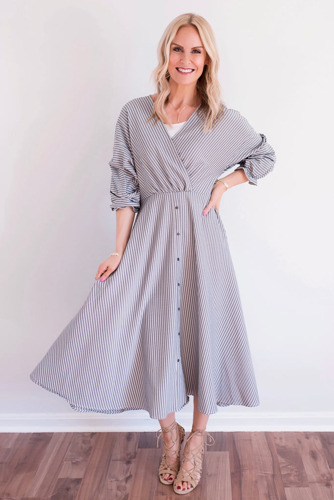 Nora Slate Ruffle Sleeve Striped Maxi Dress