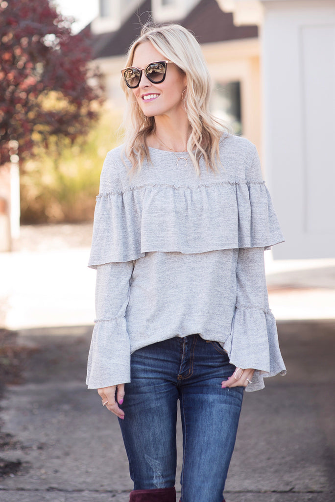 Samantha Grey Ruffle Top