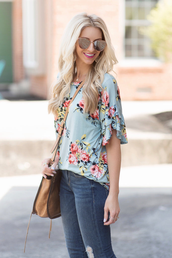 Bethany Mint Floral Top