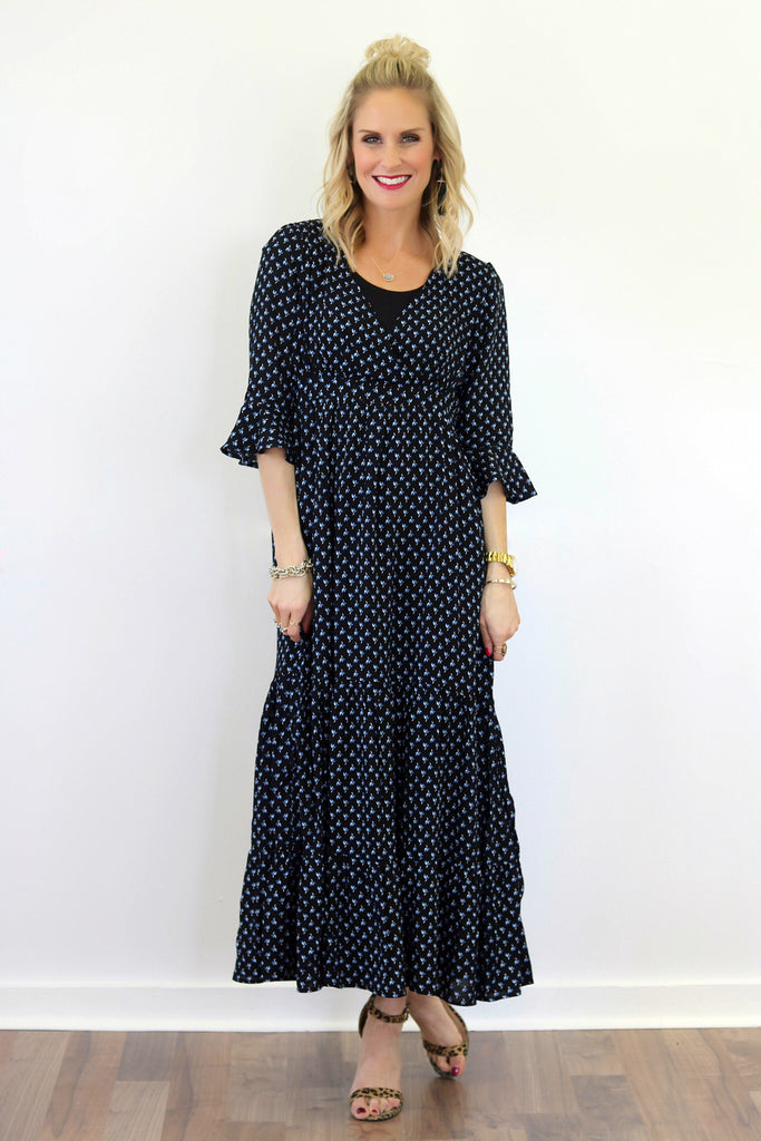 Edie Black and Blue Micro Floral Print Maxi