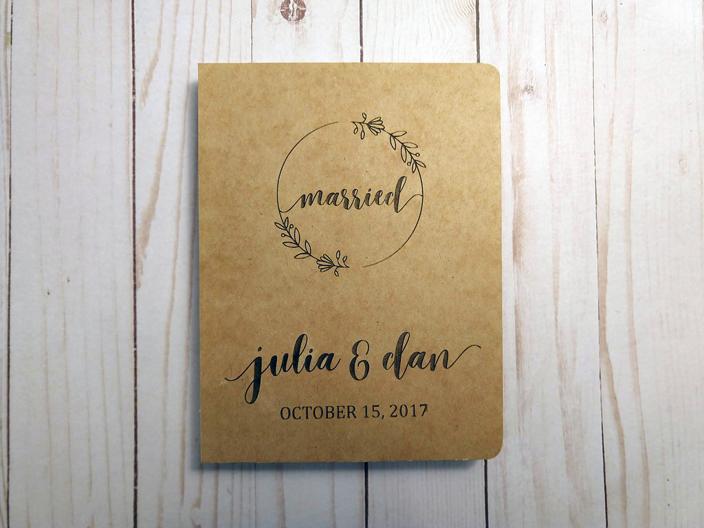 Engraved Kraft Wedding Guestbook / Journal