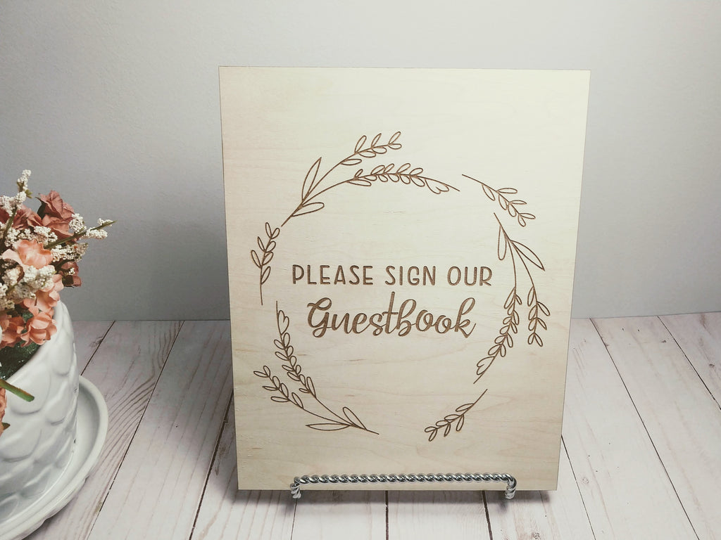 "Wood ""Please Sign Our Guestbook"" Sign"