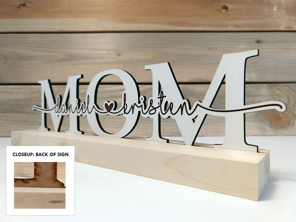 """MOM"" Personalized Wood Sign"