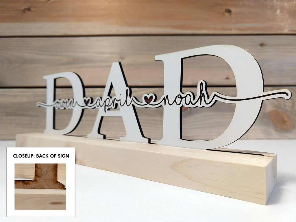 """Dad"" Personalized Wood Sign"