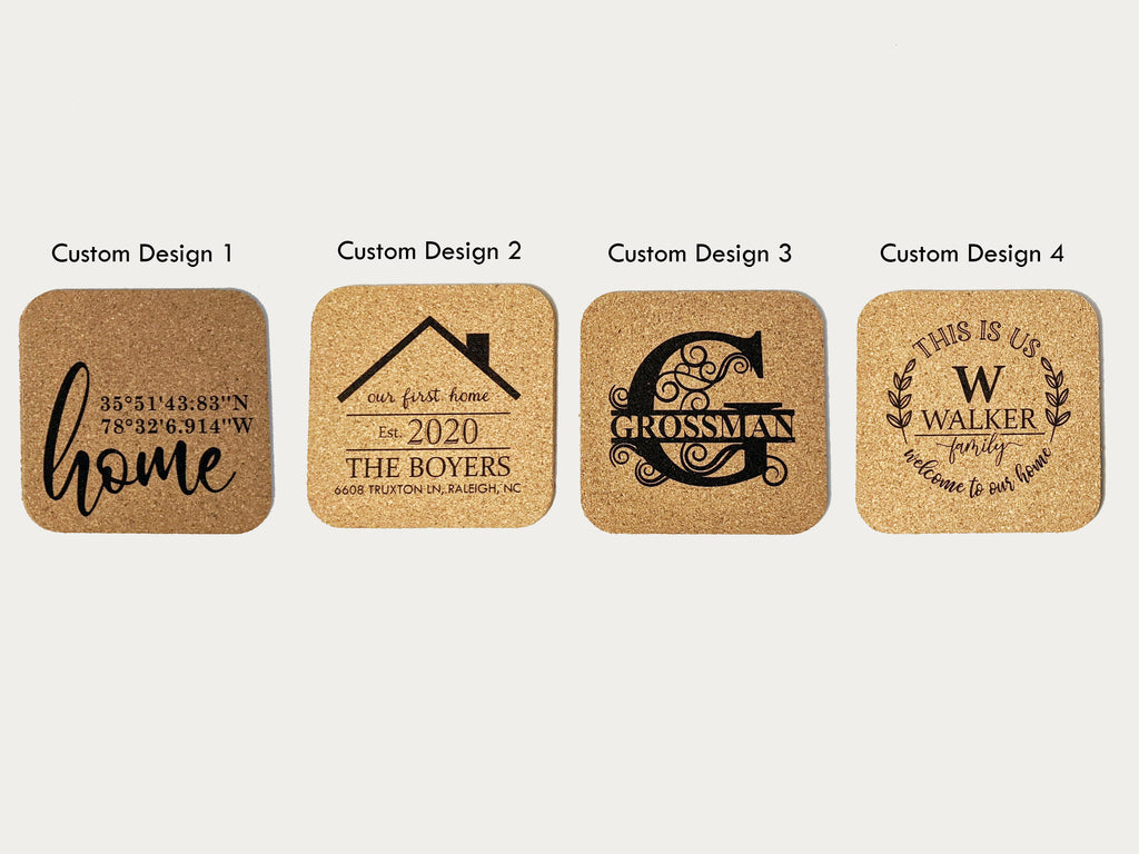 Personalized Cork Coaster Set