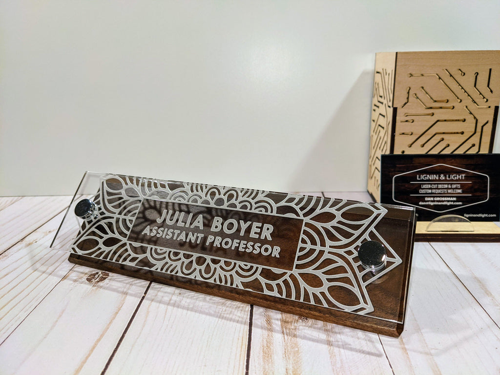Floral Wedge Desk Name Plate