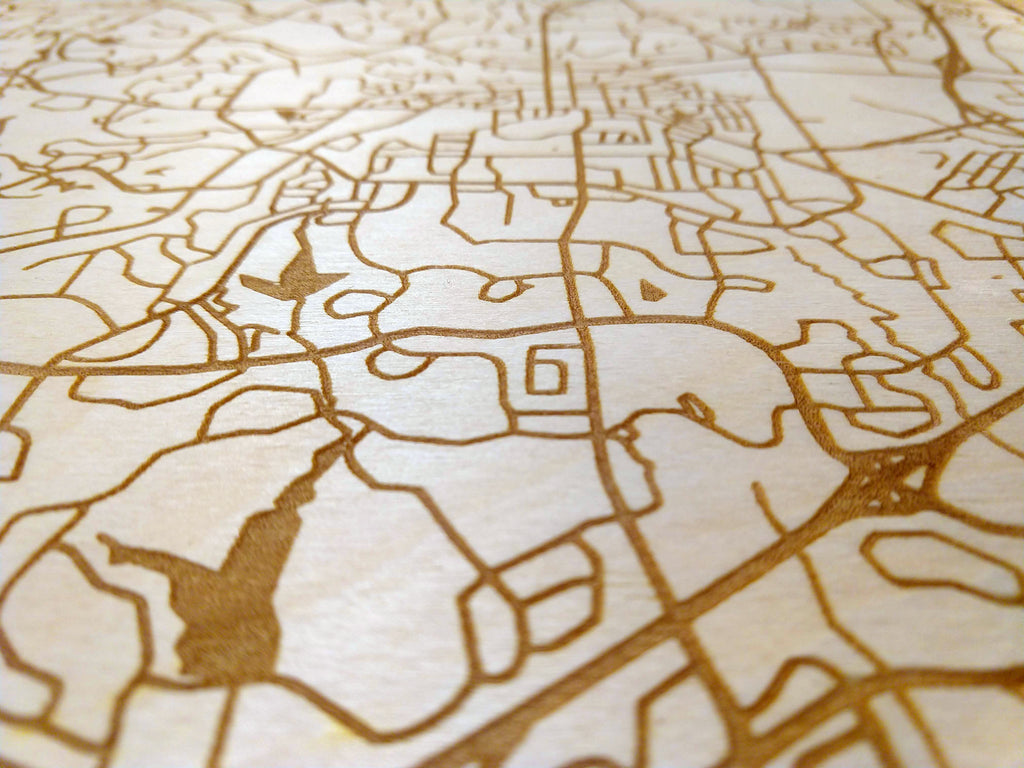 "Custom Any City 12x12"" Rustic Wood Map"