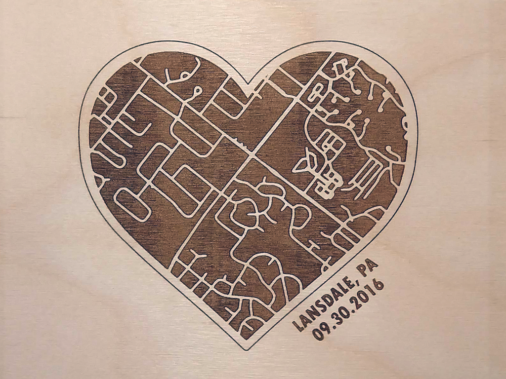 """Met, Engaged, Married"" Engraved Heart Maps Set"