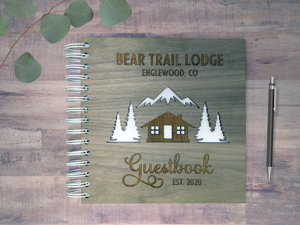 Wood-Cover Cabin/Lodge Guestbook