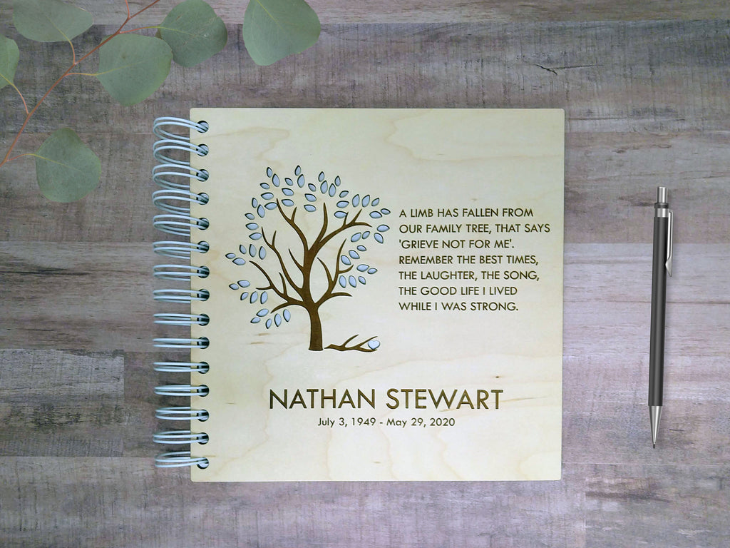 Wood-Cover Memorial Sign-In Book