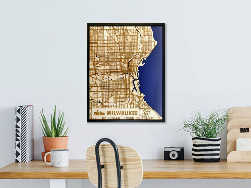 "Custom Any City 11x14"" Wood Map"
