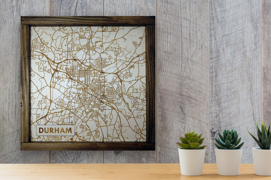 Durham North Carolina Rustic City Map