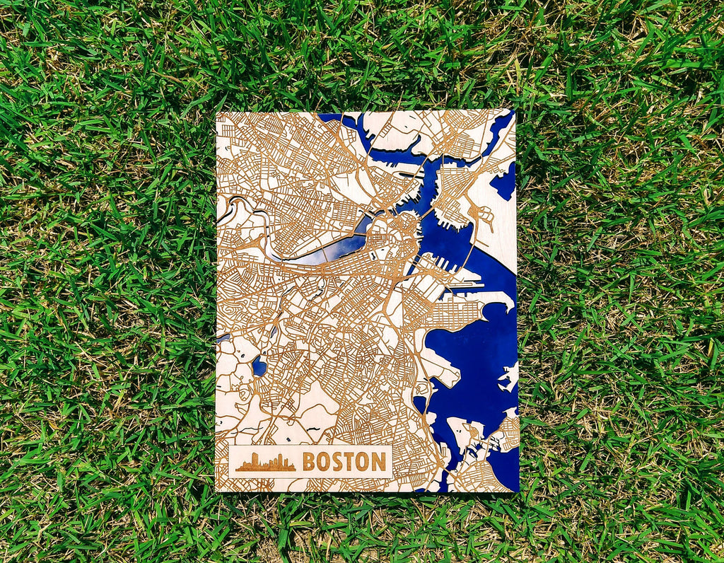 Boston Massachusetts 3D Wooden Map