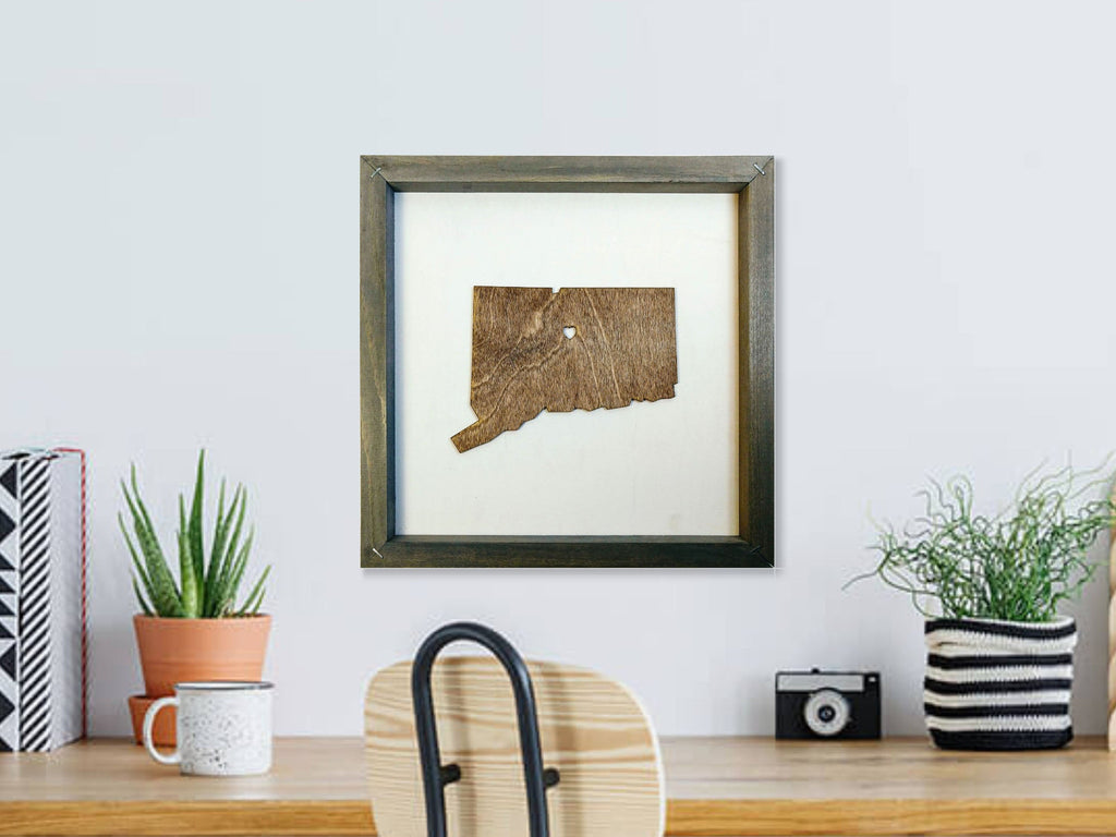 Rustic Wood Connecticut State Wall Art
