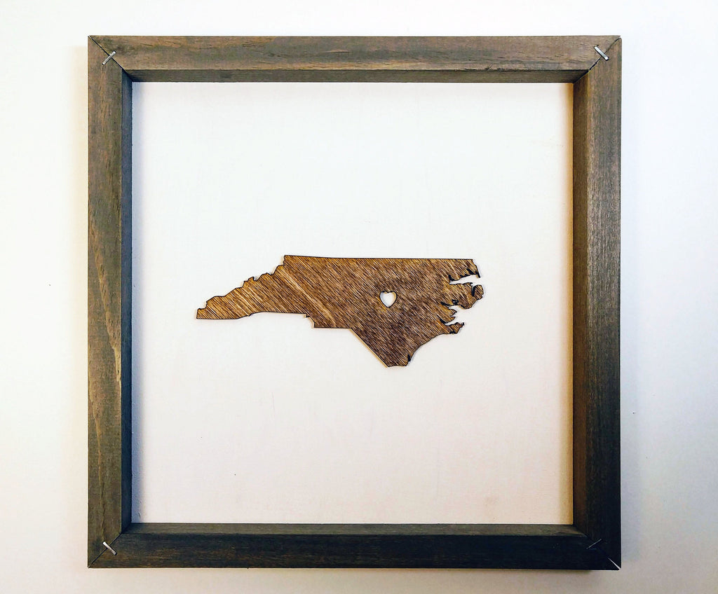 Rustic Wood North Carolina Wall Art