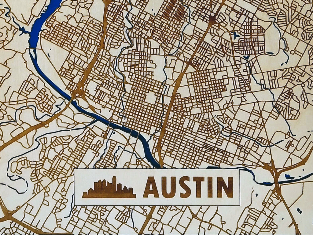 Austin Texas 3D Wooden Map